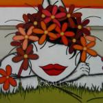 """Tu """"pintas"""" alegría entre las flores."""