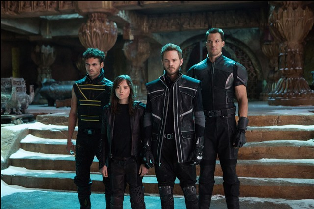 DF-02072 - (from left): Sun Spot (Adan Canto), Kitty Pryde (Ellen Page), Iceman (Shawn Ashmore) and Colossus (Daniel Cudmore) prepare for an epic battle to save their kind.